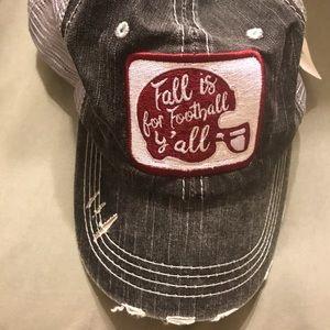 Katydid Maroon gray football trucker hat